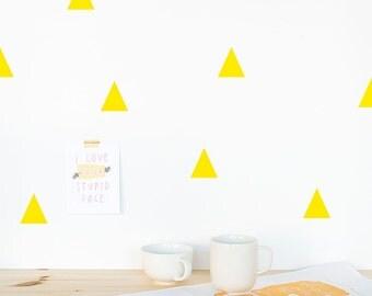 Triangle Wall decal Yellow / Wall Triangles Vinyl Sticker / Wall Triangles Home decor / Triangle pattern yellow / Geometric wall decal