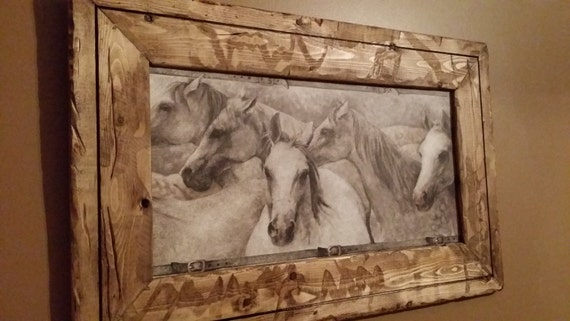 rustic horse decor rustic wood frame horse print black and white horse picture - Horse Decor