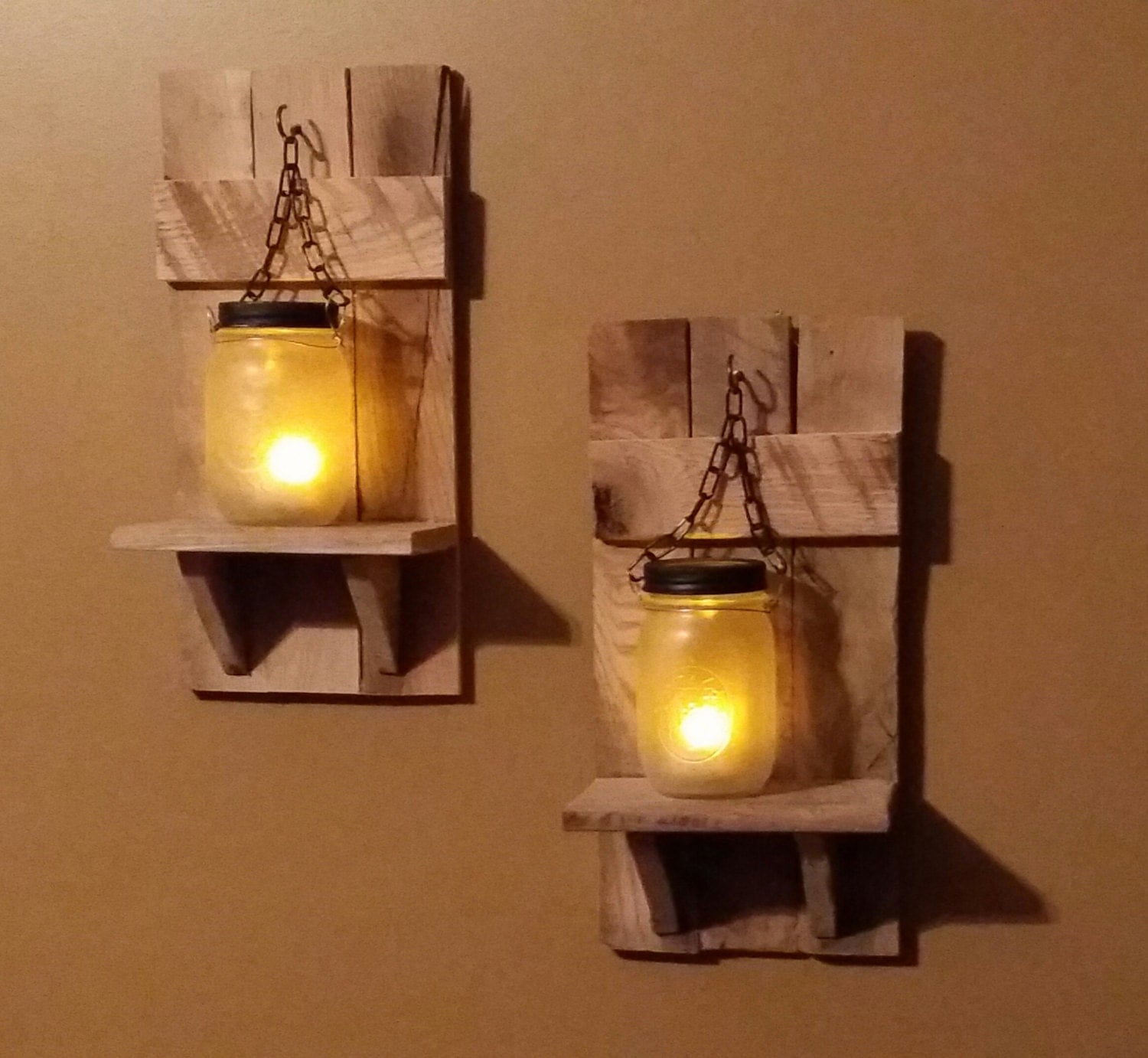 Country Wall Sconce Candle Holder : Rustic Mason Jar Candle Holder Country Decor sconces