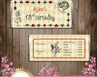 Alice in Wonderland Candy Bar Wrapper - Vintage Style - Digital File - EDITABLE text - DOWNLOAD Instantly - Microsoft® Word Format