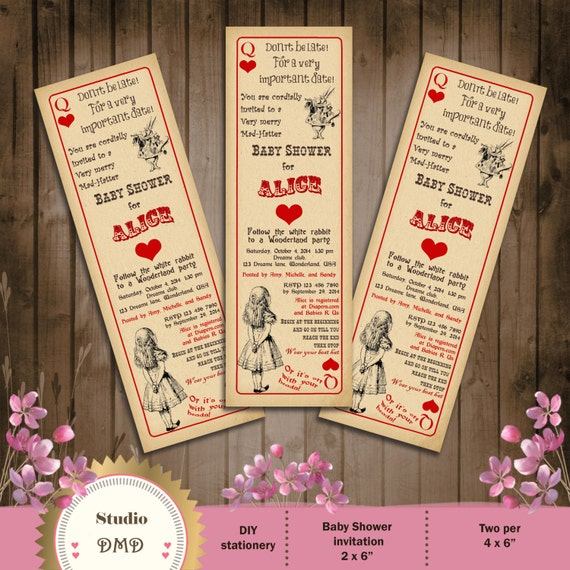 vintage playing card alice in wonderland baby shower, Baby shower invitations