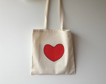 Hand Painted Cotton Tote Bag- Love Heart - Valentines