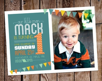 Printable // 1st Birthday Boy Invite