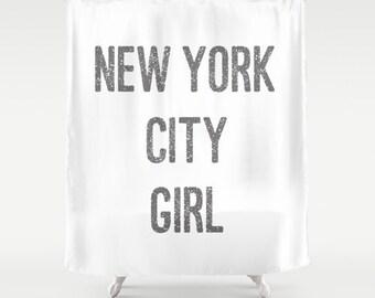 Shower Curtains -  New York City Girl - Shower Curtain - New York Shower Curtain - New York City Shower Curtain - Girls Shower Curtain