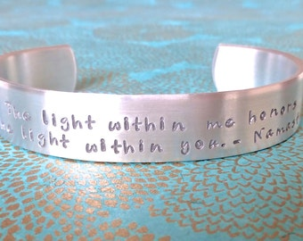 Yoga bracelet | Namaste Gift - The light in me honors the light within you. - Namaste | Custom Hand Stamped Bracelet by MadeByMishka.com