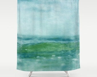 Shower curtain bathroom decor abstract green curtain - Green and turquoise curtains ...