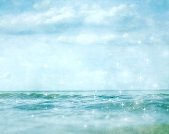 photo print, photography print, home decor, large size wall art, ocean print, sea, nautical, dreamy, stars sparkle shimmer water waves