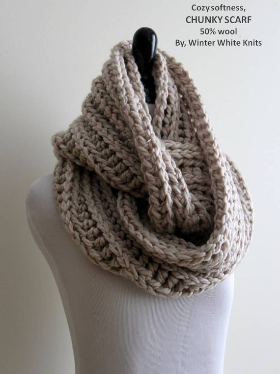 ... scarf, circle scarf, chunky knt scarf, warm and cozy, neutral color