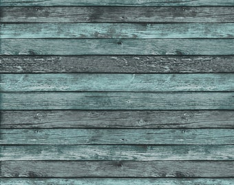 Photography Backdrop - Rustic Wood Boards - Teal - Distressed gray wood painted teal photo backdrop - Printed Wood backdrop