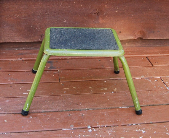 Green Metal Step Stool Mid Century Footstool Avocado Green