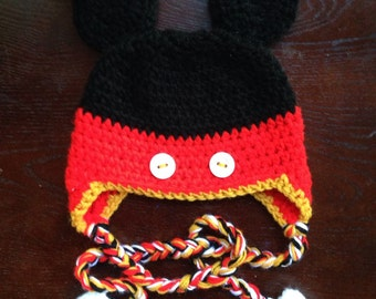 Hand Crafted Crochet Mickey Mouse Beanie with Poly Fiber filled mittens