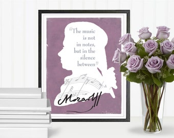 Mozart Quote, Composers, Music Quotes, Music Art, Quote Print, Wall Art Printable, Poster Art, Instant Download, Digital File, 8''x10''