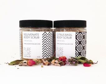 Body Scrub Set 4 oz Jars, Citrus Basil Body Scrub + Rejuvenate Body Scrub, Organic Sugar, Exfoliating, Hydrating, 100% Natural