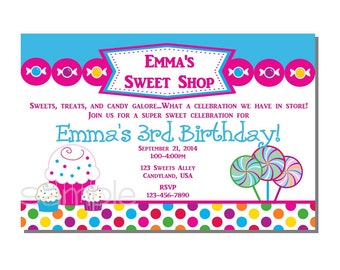 Candy Invitation Sweet Shop Birthday Invitation - DIGITAL or PRINTED