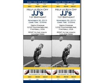 Football Ticket Invitation All Star MVP Birthday Party Yellow and Blue - Digital File
