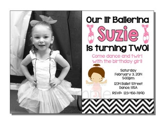 Ballerina Invitation Birthday Party - DIGITAL or PRINTED