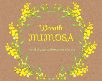 Mimosa Watercolor Clipart digital Hand Drawn. Wreath Mimosa. Romantic wedding clipart, Yellow bright flowers, spring, fresh floral disign