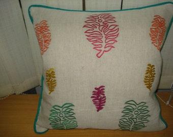 Stylish Multi Coloured Leaf Embroidery Cushion