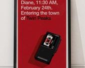 Poster Diane con ilustración exclusiva Twin Peaks - David Lynch.