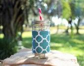 Mason Jar Tumbler 24 oz   Mason Jar To Go Cup   BPA Free Lid and Straw   Free Personalization   Teal Quatrefoil