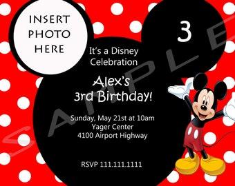 5x7 Mickey Mouse Custom Invitation (option to print)