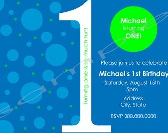 5x7 1st Birthday Invitation Blue and Green (option to print)