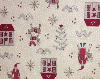Fat Quarter of Cream Color Scandinavian Christmas by Lynette Anderson for Lecien, Made in Japan.