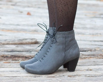 Black Leather Boots, Ankle Boots, Leather Booties, Black Boots, Winter Shoes, Black Shoes, Stonewash, Lace Boots , Free Shipping