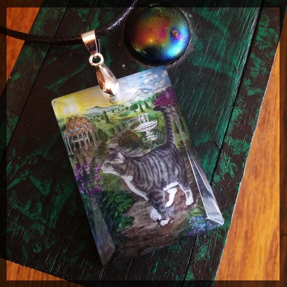 The Cat The Fool Crystal Art Pendant From Mystical Cats