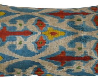 Ikat Silk Velvet Uzbek Pillow - FREE SHIPPING!