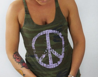 Women's American Camo Peace Tank Top