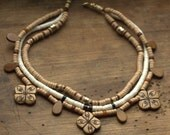 Ethno triple necklace,native style,beige necklace,pottery beads,carved bone beads,OOAK,Valentines gift,strand necklace,multi strand necklace