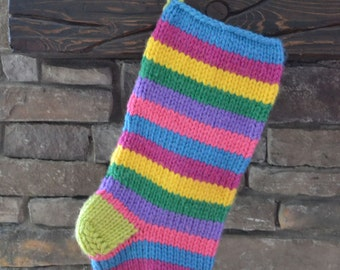 knit christmas stocking: multi-colored stripes