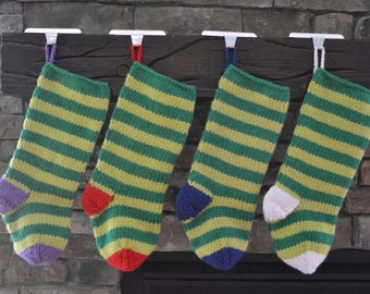 knit christmas stocking: green stripes with varying heal and toe colors