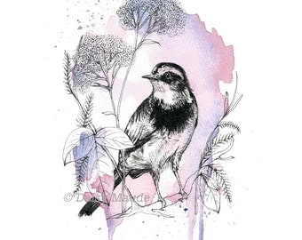 Songbird - Purple Watercolour Ink Bird Illustration Art Print - 5x7""
