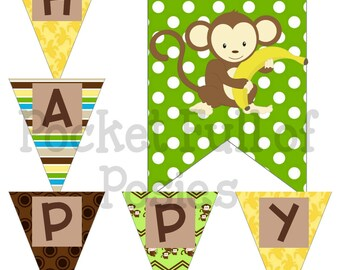 Monkey Birthday, Decorations Boys, Monkey Decorations, Party Pack Package,Digital Download,Birthday Printable,Monkey Printable,Monkey Banner