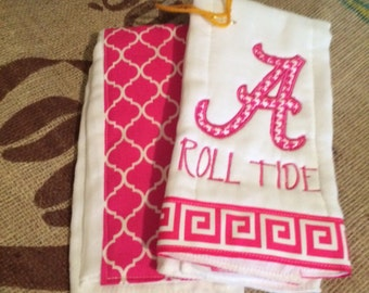 Pink Roll Tide Alabama burp cloth set