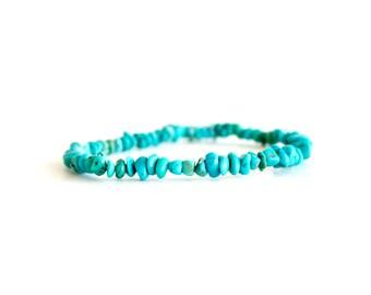 Turquoise Chip Bracelet/ Raw Turquoise Bracelet/ Tiny Turquoise Bracelet/ Stone Chip Bracelet/ Blue Stone Bracelet