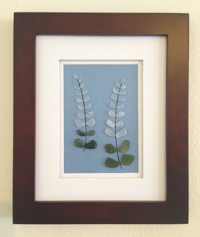 Genuine Sea Glass Art Pebble Art Lupine Flower Home Decor