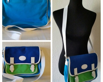 Vintage Blue Green Messenger Bag