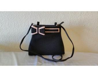 Vintage Black/Power Pink Bow Purse