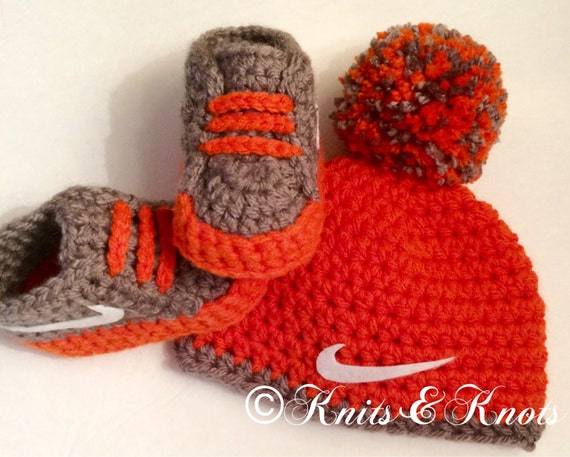 Nike hat and booties crochet, crib shoes, booties,slippers, made to ...