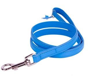 Dog Leather Leash Lead Soft 4 foot Medium Large Blue