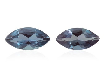 Alexandrite Synthetic Lab Created Color Change Loose Gemstones Set of 2 Marquise Cut 1A Quality 7x3.5mm TGW 0.65 cts.