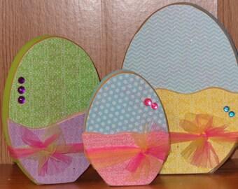 Easter Decor, Easter Craft, Handmade, Set of 3 Easter Eggs