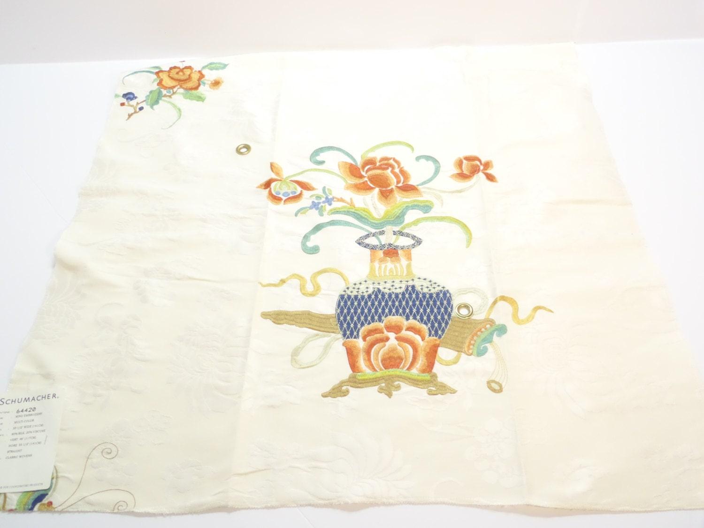 Schumacher fabric sample ming embroidery multi color silk