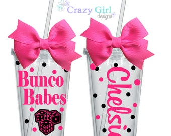 Personalized Bunco Tumblers with Straw 16 oz. Acrylic Cup BPA Free Custom