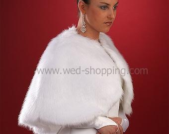 Faux Fur Cape Wedding Stole Wrap Cape Shrug A1007 Fake Fox White Ivory Black