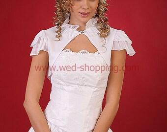 Crinkle chiffon bridal bolero with short sleeves white ivory wedding shawl E1083
