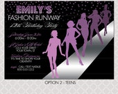Fashion Show Invitation - Project Runway inspired birthday party - Purple Fashion Girls Paparazzi - Teens Girls Runway - Fashion Design